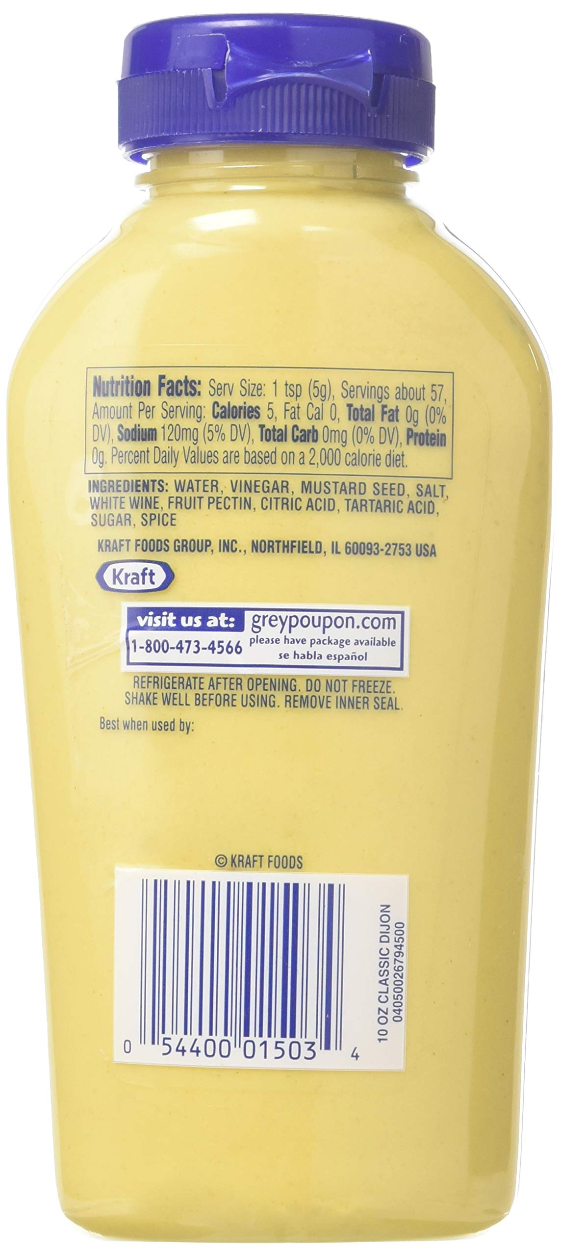 Grey Poupon Dijon Mustard (10oz Bottle) 4 One 10 oz. bottle of Grey Poupon Dijon Mustard Grey Poupon Dijon Mustard uses the finest ingredients for a gourmet condiment #1 Grade Mustard Seeds and spices provide strong, delicious flavor