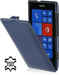 StilGut UltraSlim Case, housse en cuir véritable pour Nokia Lumia 520, Bleu Marine