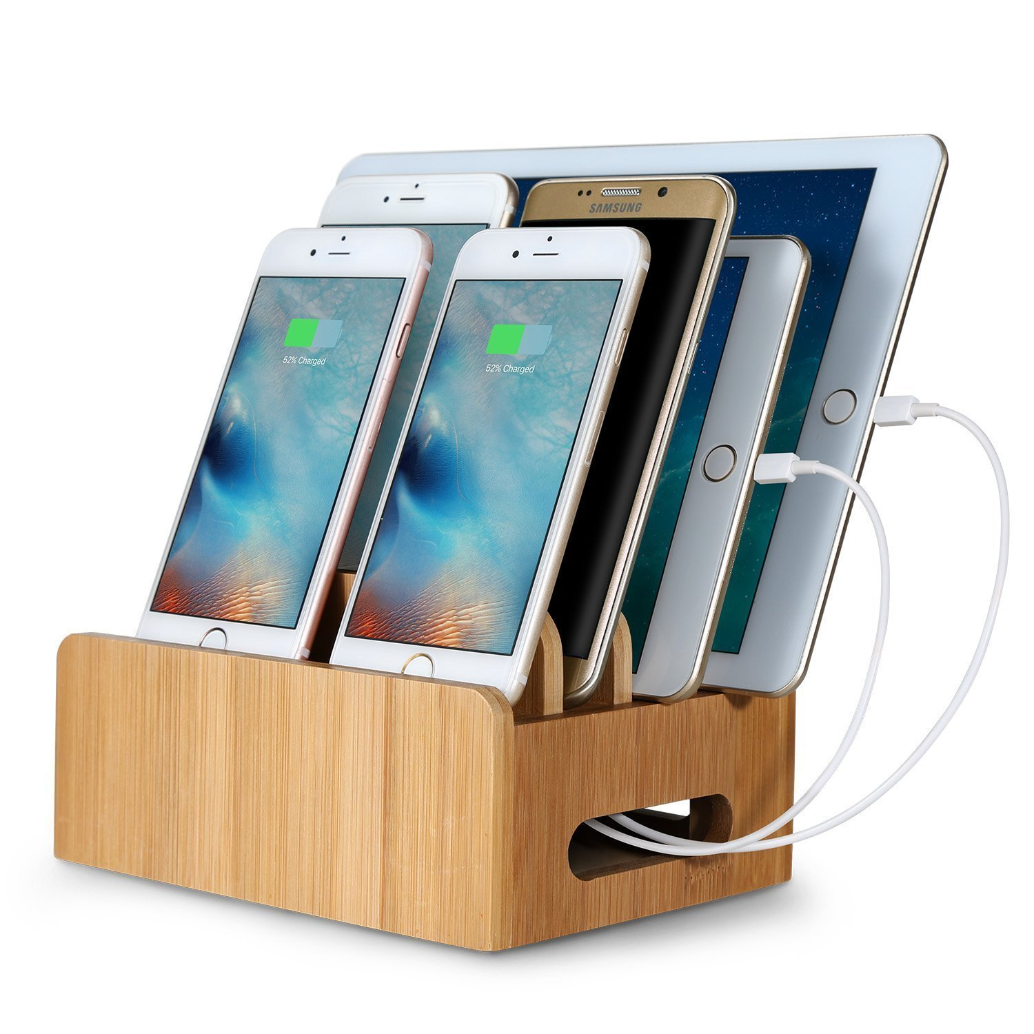 charging station organizer upow bamboo multi device cords organizer stand and 29409