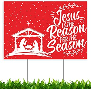 Christmas Decorations Yard Sign, Jesus is The Reason for Season Nativity Manger Scene Xmas Holiday Decor Outside Lawn Sign 18x12, 2-Sided Banner with Metal Stakes for Home Gift Outdoor Patio Garden