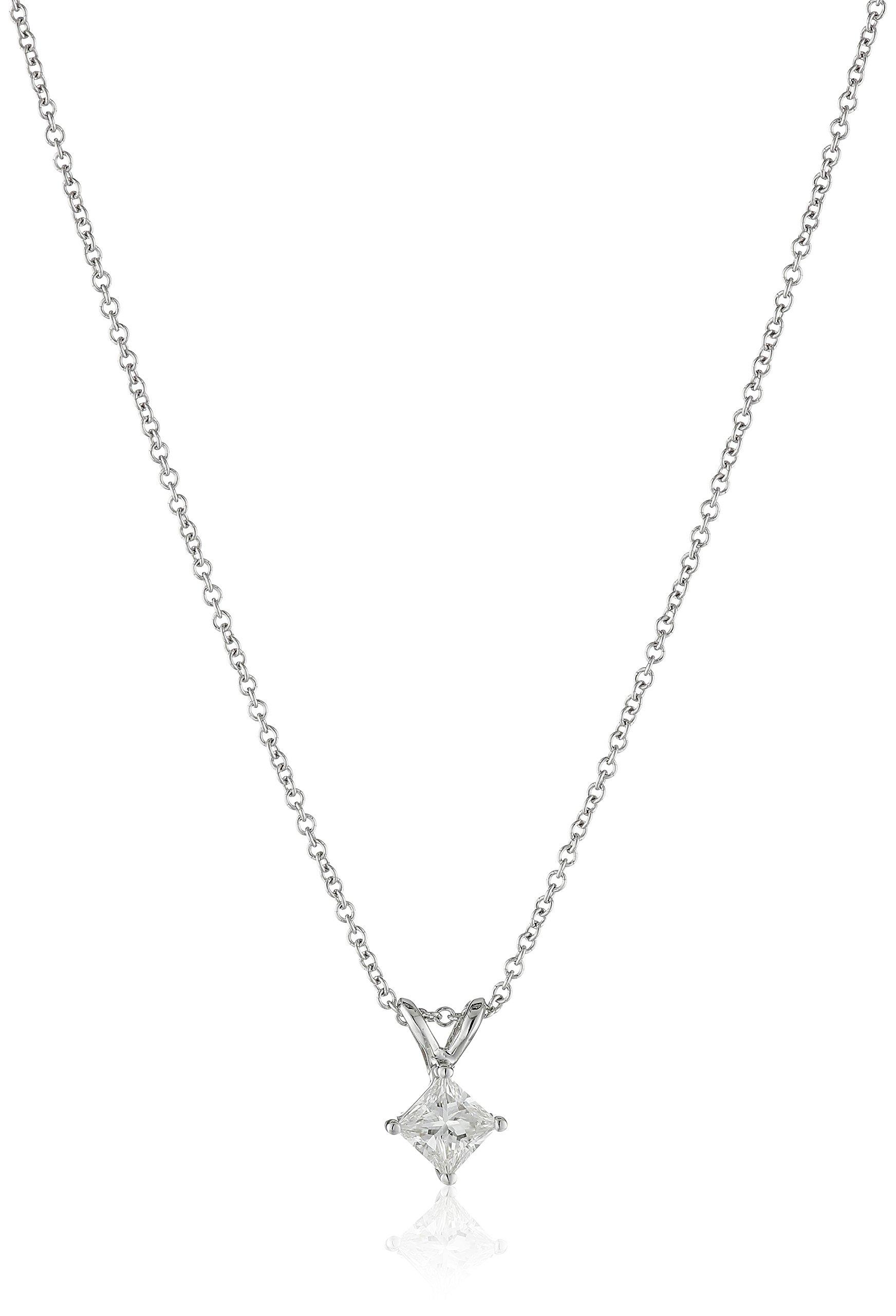 IGI Certified 18k White Gold Princess-Cut Diamond Pendant Necklace (1/3cttw, G-H Color, VS2 Clarity), 18''