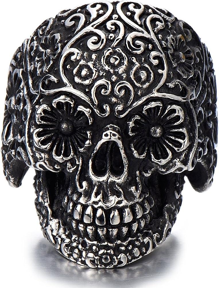 Vintage Men/'s Stainless Steel Skull Rings,Hip Hop Silver Gothic Skull Bone Biker Ring,Personality Domineering Big Motorcycle Ring For Man
