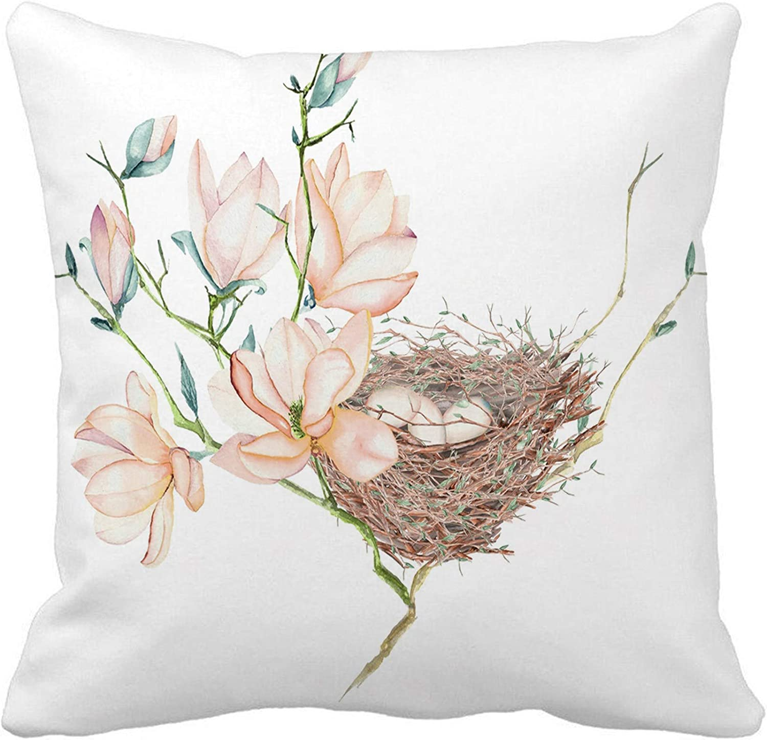 Awowee Throw Pillow Cover Pink of The Watercolor Bird Nest Eggs Magnolia Tree 18x18 Inches Pillowcase Home Decorative Square Pillow Case Cushion Cover