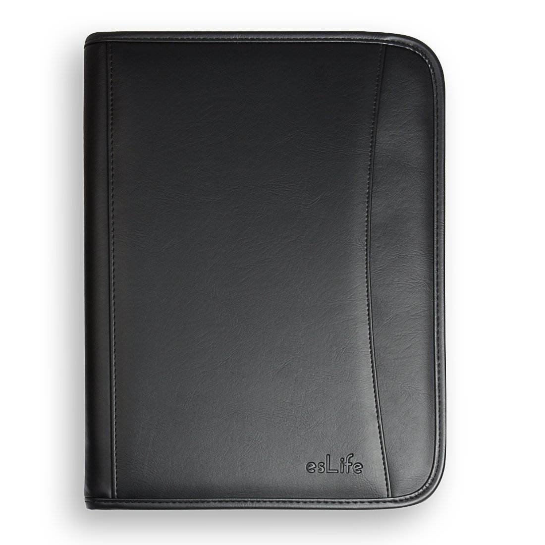 esLife Padfolio Portfolio PU Lether with Letter Size Writing Pad, Professional Interview Resume Portfolio and Business Card Holder