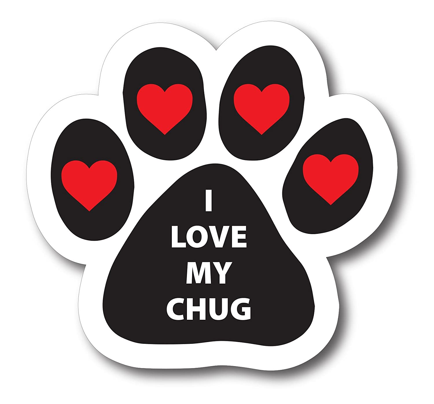 Magnet Me Up I Love My Chug Pawprint Car Magnet Paw Print Auto Truck Decal Magnet