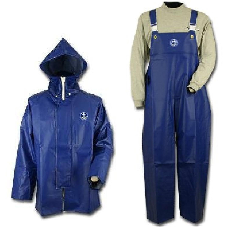 【上下セット販売】水産マリンレリー 花紺 上着パーカー胸付きズボンセット 漁師専用レインスーツ (M) B01D856F5C M M