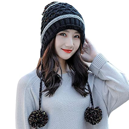 7ae344d562b Amazon.com  Vovomay Womens Winter Beanie Hat and Scarf Set Warm Knitted Cap  with Scarf Unisex (Black) (Black)  Sports   Outdoors