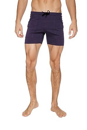 9f012ed5b875a 4-rth Mens Transition Yoga Shorts (Extra Small, Eggplant w/Black)