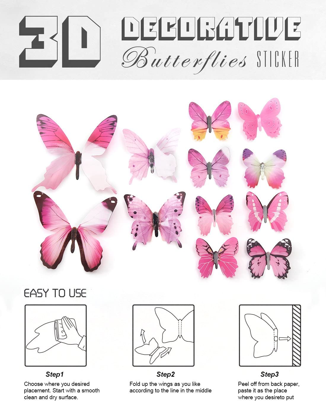 eoorau 80PCS Butterfly Wall Decals 3D Butterflies Decor for Wall Removable Mural Stickers Home Decoration Kids Room Bedroom Decor