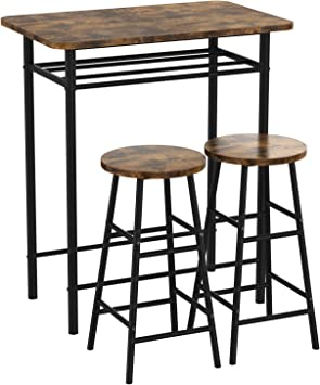 Amazon Com Ironck 3 Piece Pub Bar Table Set Industrial High Top Table Set Kitchen Dining Bar Table With 2 Bar Stools Chair Easy Assemble Industrial Style Rustic Brown Furniture Decor
