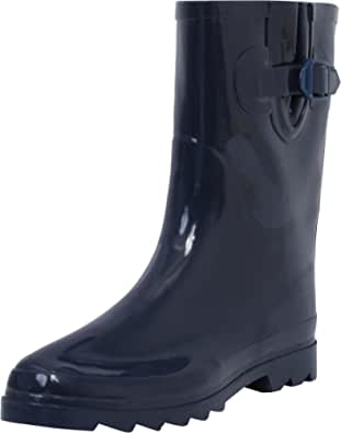 Sunville New Women's Mid-Calf Rubber Rain Boots