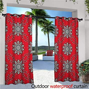 Amazon Com Red Mandala Balcony Curtains Sketchy Leaves Swirl Ivy