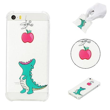 Funda iPhone SE Silicona, Funda iPhone 5S, Carcasa Transparente Funda Cubierta de Silicona Protectora Caso Shock-Absorción Bumper Case Protección para ...