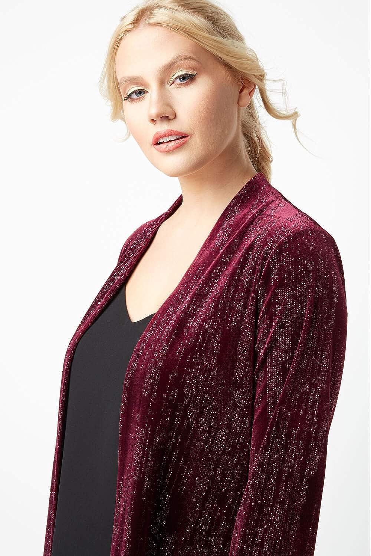 Ladies Evening Christmas Party Sparkle Glitter Long Sleeve Edge to Edge Velvet Cover Up Jackets Roman Originals Women Glitter Velour Long Sleeve Jacket