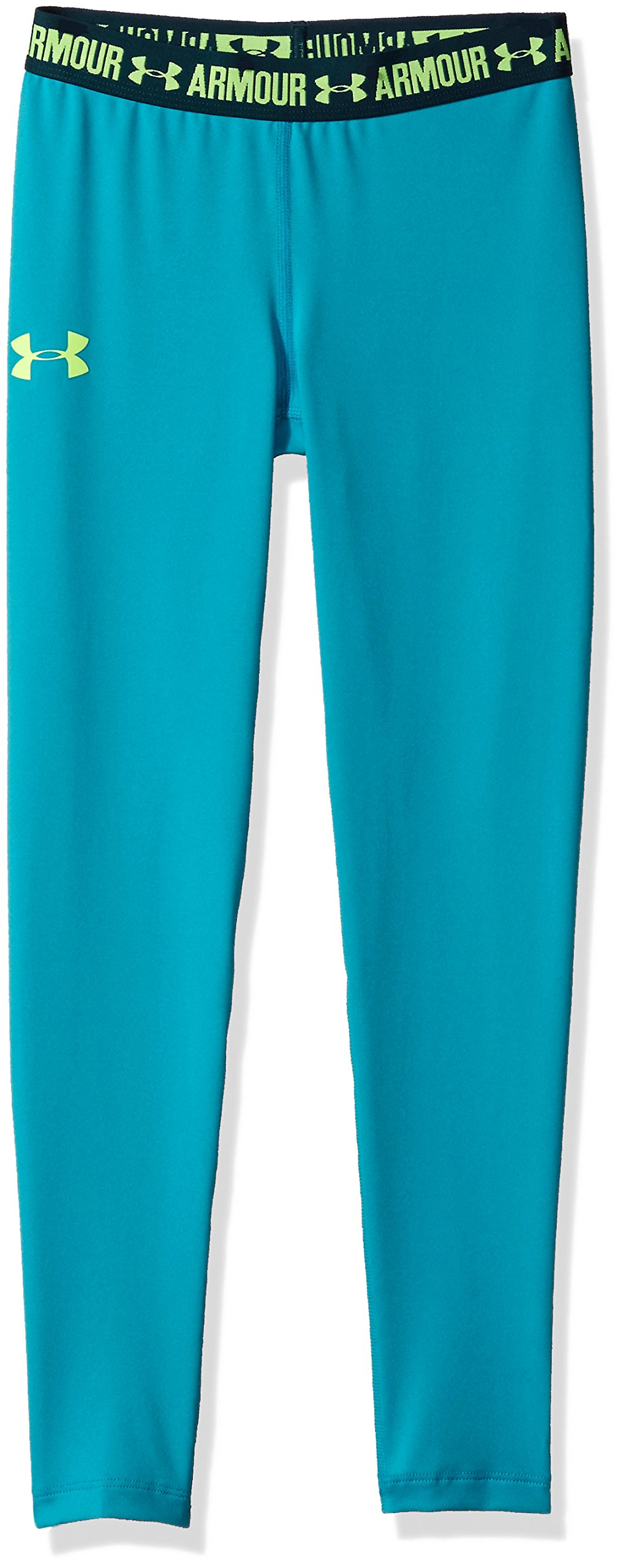 Under Armour Girls' HeatGear Armour Legging,Blue Shift /Quirky Lime, Youth X-Large by Under Armour