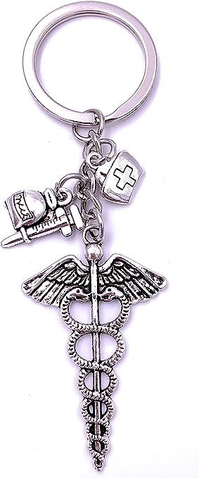 Onwomania Arzt Gesundheit Medi Pack Spritze Schlüsselanhänger Keychain Silber Metall Spielzeug