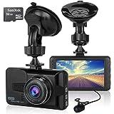 ULU 1080P Dash Cam Front + VGA Rear 290°Dual Lens Super Wide Angle Car DVR Full HD Dashboard Camera Recorder with 32G Card, 3 inch LCD,G-Sensor,WDR,Loop Recording,Night Vision,Car Black Box