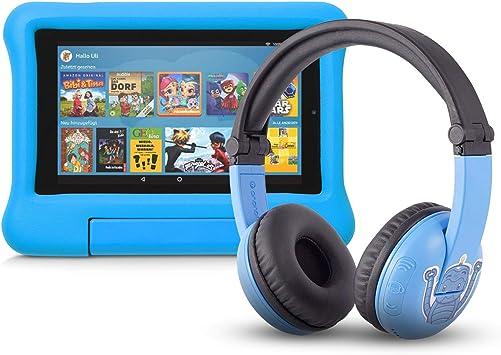 Fire 7 Kids Edition Tablet 16 Gb Blaue Kindgerechte Hülle Mit Playtime Bluetooth Headset Altersklasse 3 7 Jahre Amazon Devices