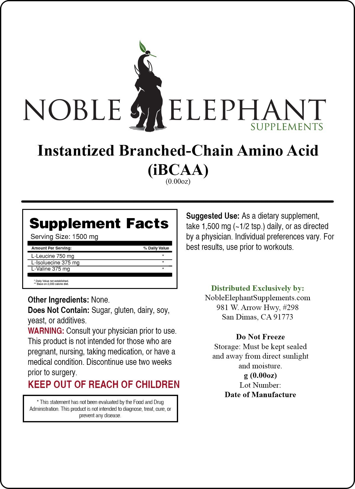 Pure Instantized Branched Chain Amino Acid Bulk Powder (4 Kilograms)