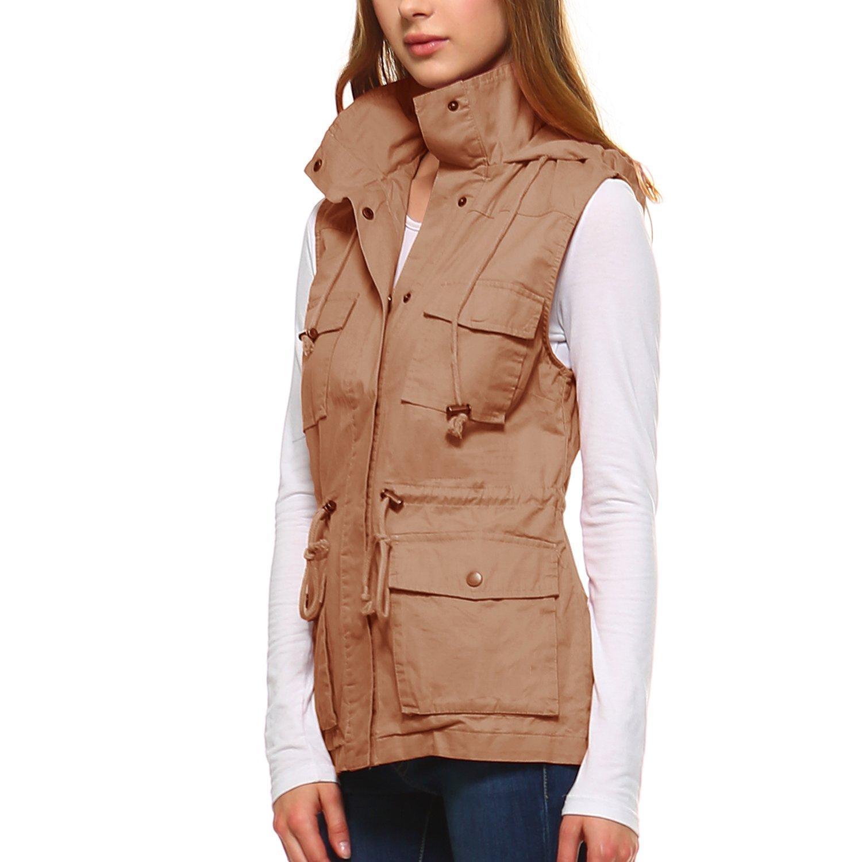 Fashionazzle Women's Lightweight Sleeveless Military Anorak Utility Jacket Vest (Large, MJV01-Taupe)