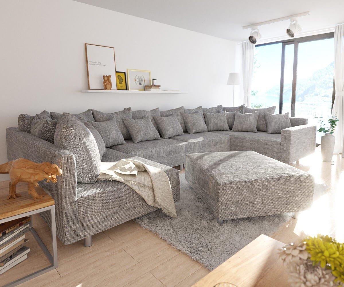Couch Clovis Xl Hellgrau Strukturstoff Mit Hocker Und Armlehne