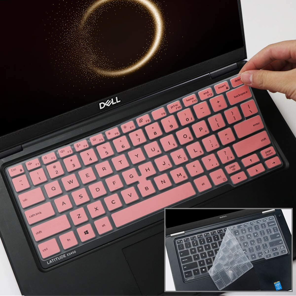 2Pcs i-Tensodo Keyboard Cover Design for 2020 2019 Dell Latitude 5400 5401 7400 14 Inch with Pointing Laptop |Dell Latitude 14 US Layout Keyboard Protective Cover Skin-Pink