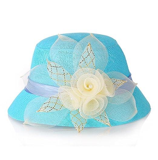 5b3b7b55b62 Women Bucket Sun Flax Summer Beach Hat Cloche Travel Boonie Top (Blue)