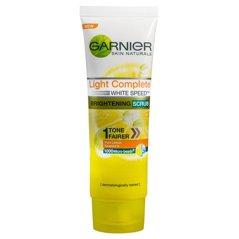 Garnier Brightening Lightening Whitening scrub exfoliate face wash whitening foaming cleanser light complete cleansing