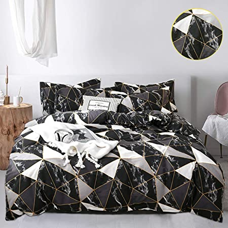 Amazon Com Jumeey Black Marble Duvet Cover Bedding Set Queen