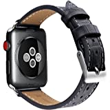 OULUOQI Apple Watch Band 42mm, Alligator Texture Leather Straps iWatch Band for Apple Watch Series 3 Series 2 Series 1 Sport Edition - Black