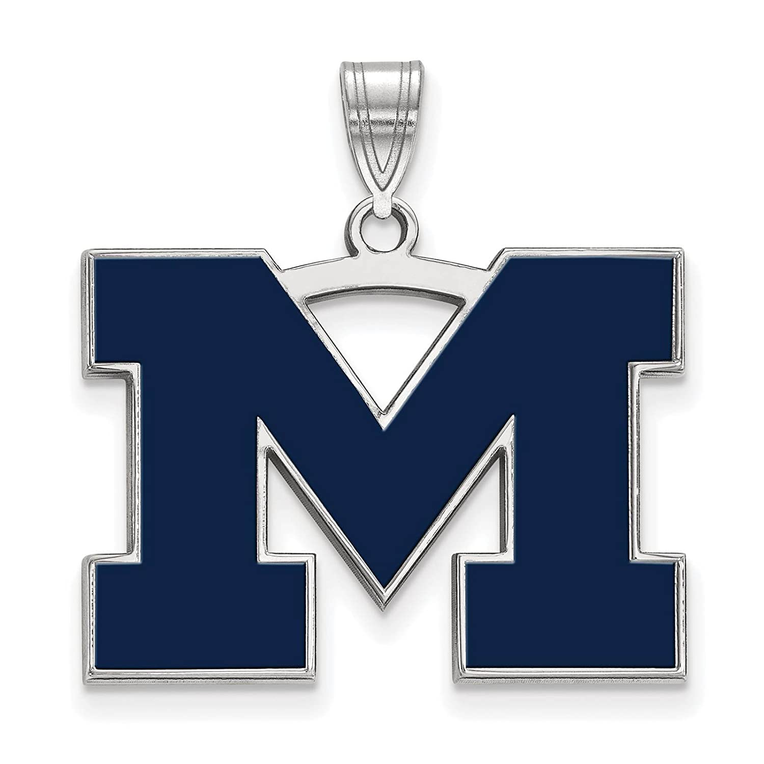 925 Sterling Silver Rhodium-plated Laser-cut University of Michigan Large Enameled Pendant