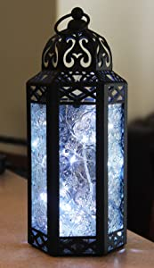 Vela Lanterns Moroccan Style Candle Lantern with LED Fairy Lights, Medium, Clear Glass