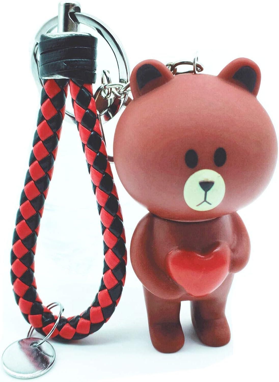 Traodin Love T-shirt Brown Bear Weaving Keychain Coin Purse Keyring Bag Buckle