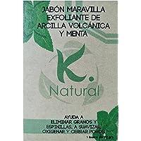 Barra de Jabon Exfoliante Para Pies KNatural de Arcilla Volcanica y con Menta Oxigena Suaviza Limpia y Refresca la Piel…
