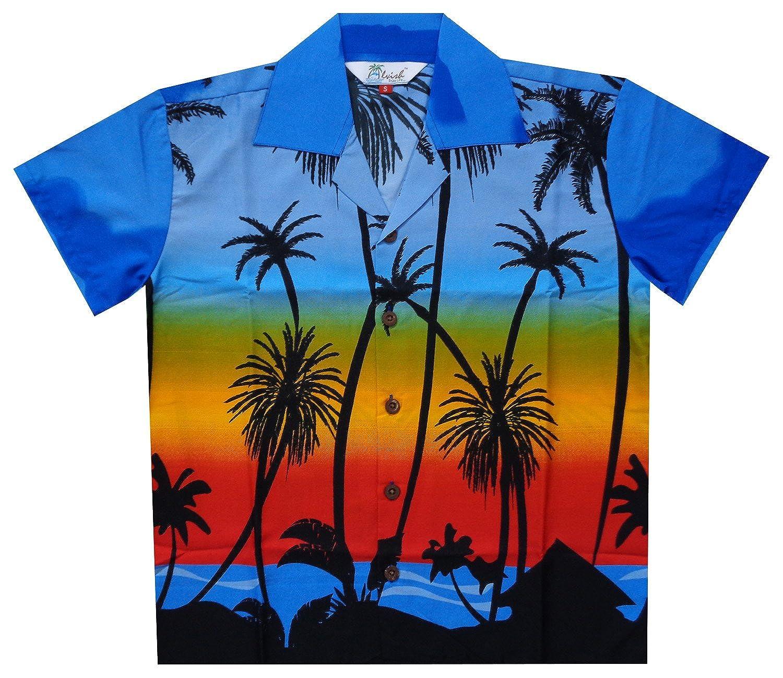 Alvish Hawaiian Shirts Boys Coconut Tree Beach Aloha Party Camp Short Sleeve Holiday