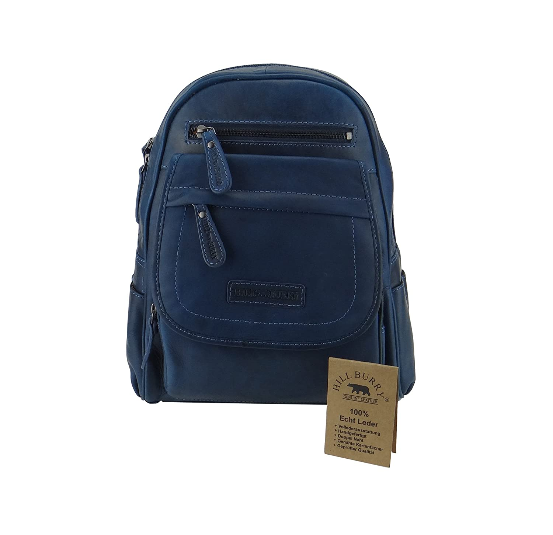 Backpack Hill Burry Rucksack Vintage Lederrucksack blau