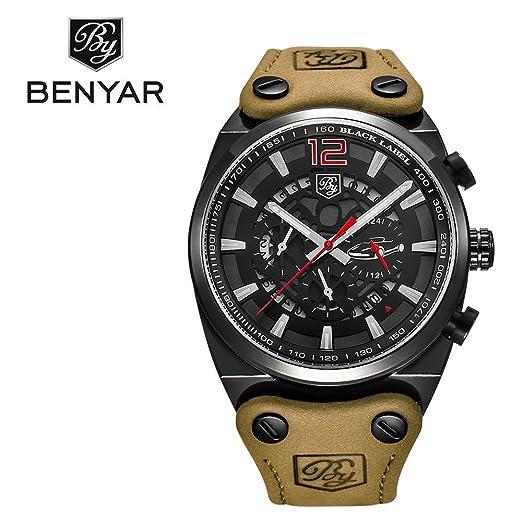 benyar Cool Hombres de cuarzo cronógrafo impermeable relojes deporte Militar correa banda de piel color marrón reloj de pulsera: Amazon.es: Relojes