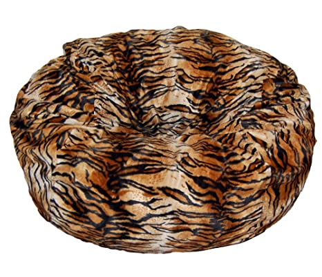Groovy Ahh Products Tiger Animal Print Fur Washable Large Bean Bag Chair Squirreltailoven Fun Painted Chair Ideas Images Squirreltailovenorg