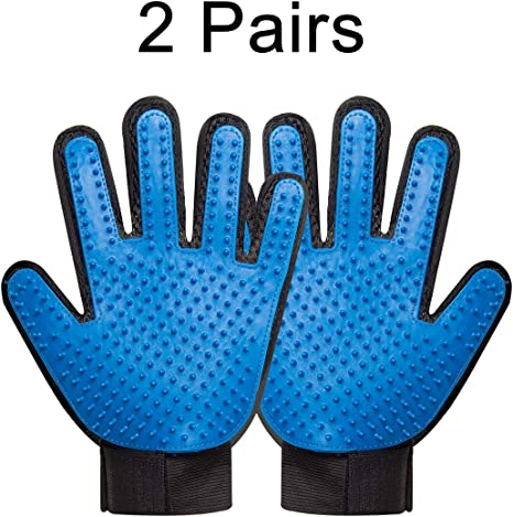 Massage Slicker Mitt Comb for Bath Deshedding Cats /& Horses with Long or Short Fur As Seen On TV Shedding Hair Remover Brush for Dogs One Pair Pet Grooming Gloves Petting