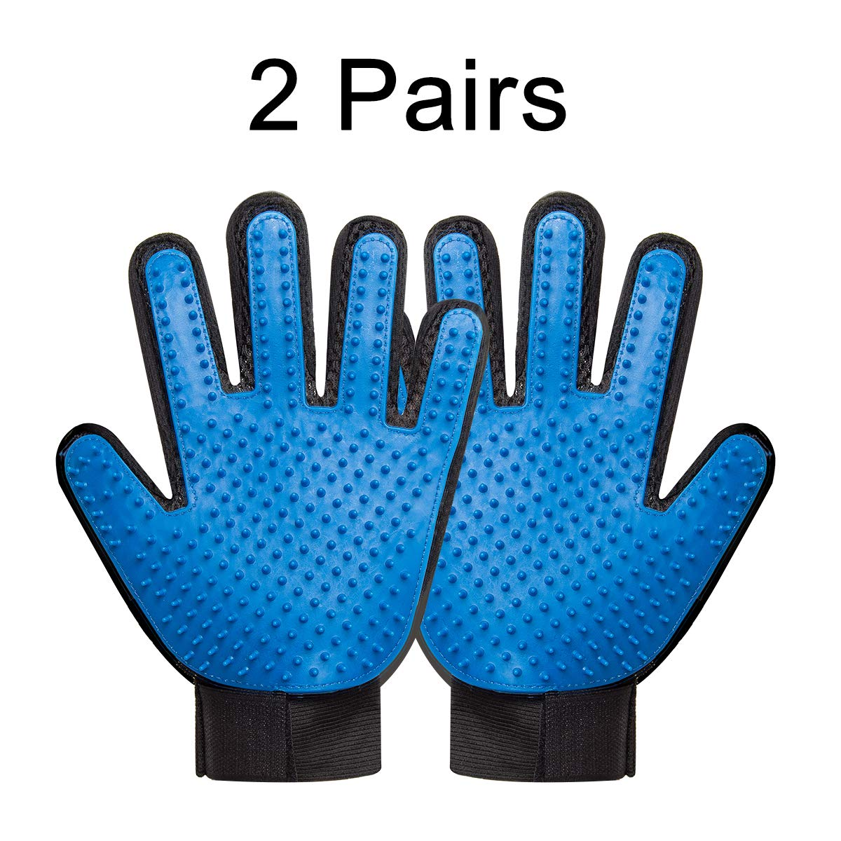 DIJIAHUA Pet Grooming Glove - Pet Hair Remover Mitt - Gentle Deshedding Bathing Massage Gloves for Cats and Dogs with Long and Short Fur - 2 Pairs