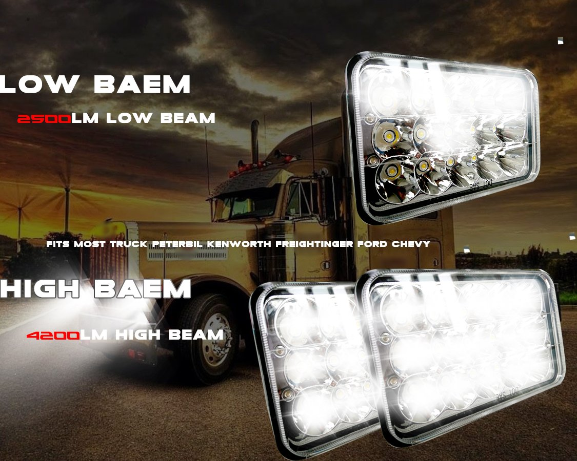 Dot Approved 4x6 Inch Sealed Beam Led Headlights Semi Truck Kenworth Lights Wiring Diagram Rectangular Replacement H4651 H4652 H4656 H4666 H6545 For T600 T800 W900 Camero