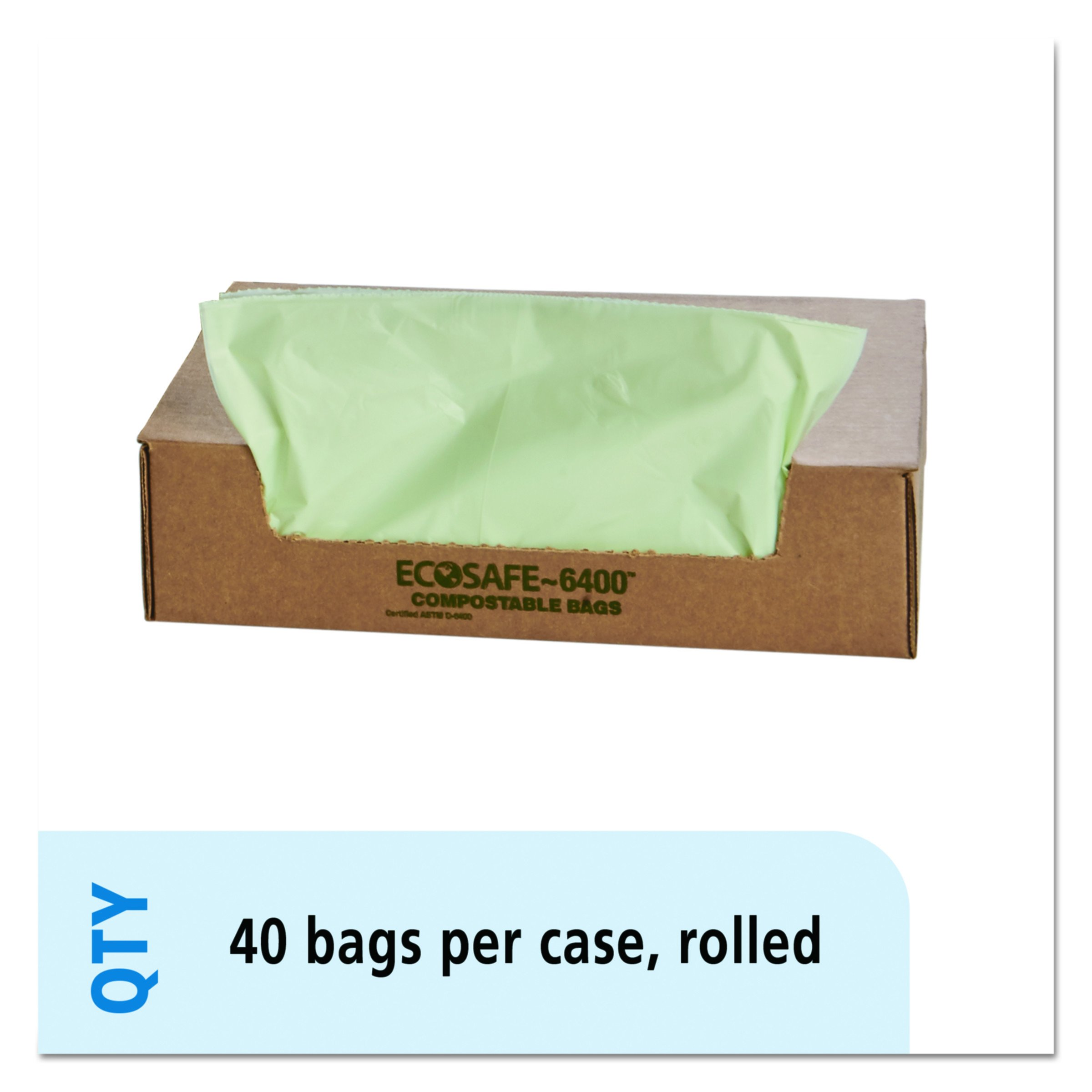 STOUT by Envision STOE4248E85 EcoSafe-6400 Compostable Bags, 42'' x 48'', 48 gal capacity, 0.85 mil thickness, Green (Pack of 40)