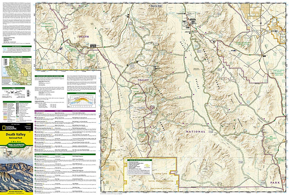 topographic map of death valley Death Valley National Park National Geographic Trails Illustrated
