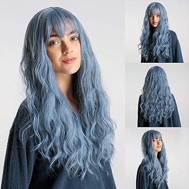 Amazon Com Haixclvye High Temperature Fiber Blue Long Curly Bang Wig Women Cosplay Party Hairpiece Fake Hair Blue Clothing