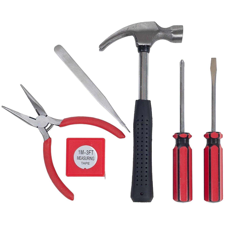 Kit de herramientas para el hogar, la oficina, o en el coche alicates destornillador Martillo Hogar herramientas de mano 7 piezas Juego de herramienta por Trimate Set incluye Rojo