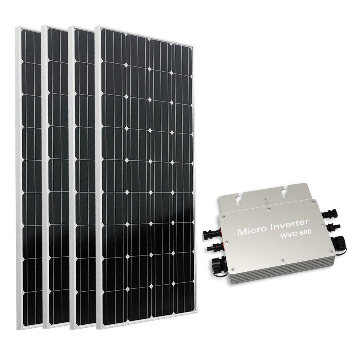 ECO-WORTHY 600W auf Grid Tie Solar Panel System: 4 160 W Mono Solarmodul W/600 W Wasserdicht Grid Tie Power Inverter für Home Backup Power