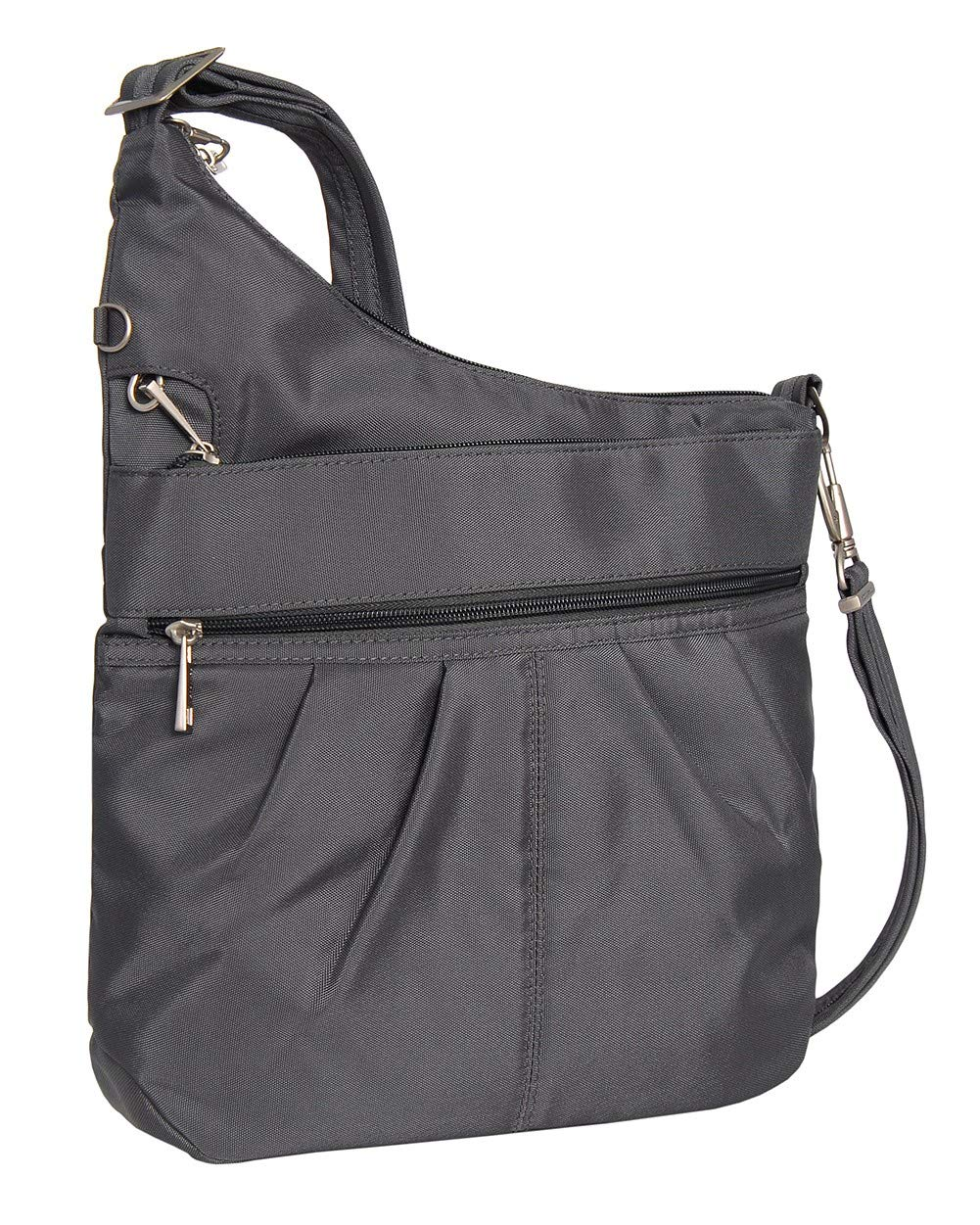 Travelon Anti-Theft Signature 3 Compartment Crossbody (One_Size, DARK GREY W/FLORAL LINING)