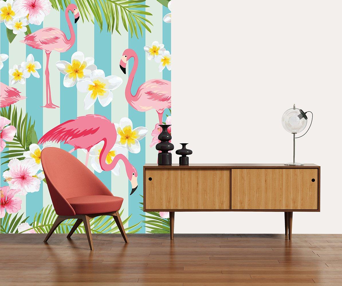 Multi-Color Ideal D/écor WG5011-2P-1 Flamingos Wall Mural