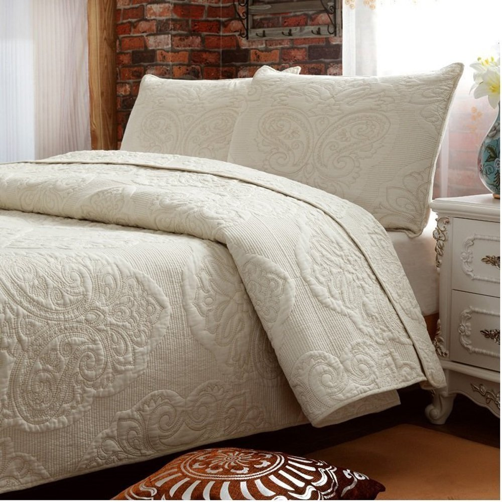 100% Cotton 3- Piece Floral Embroidered Queen Size Bedspread Quilt Set For Sale Beige