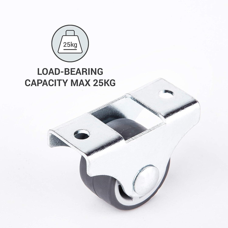 para carrito de mesa ruedas de goma no giratorias para muebles y mesas Juego de ruedas peque/ñas de 25 mm de grosor